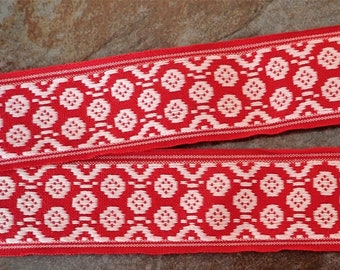POLSKA PATTERN Jacquard trim. White on red. Sold by the yard. 2 inch wide. 2097-A. Cotton Traditional Baltic trim