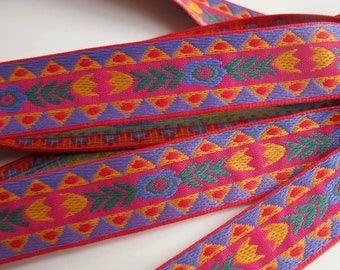 BOHEMIA Jacquard trim in periwinkle blue green mustard on cerise red, Sold by the yard,  7/8 inch wide. 993-A Bavarian dress trim