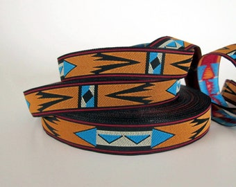 APACHE  medium width Jacquard trim in turquoise white rusty brown and black. Sold by the yard. 6/8 inch wide. 2013-A Native style trim