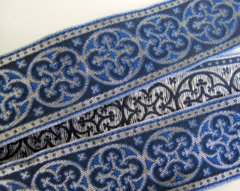 BYZANTINE Jacquard trim in metallic antique silver on Royal blue. Sold by the yard. 1 5/8 inch wide. 958-K Brocade trim