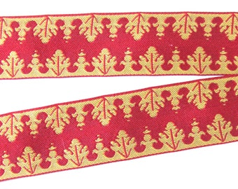 CORONET  jacquard trim in mustard on red. Reversible trim. Sold by the yard. 1 inch wide. 950-A  SCA trim, Civil War embellishment, medieval