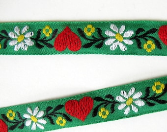 SWEDISH HEARTS Jacquard trim. White, red, yellow, black, on green.  Sold by the yard. 3/4 inch wide. 2075-C Baltic folklore, Scandinavian