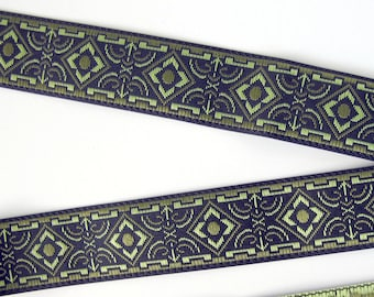 BRONZE AGE narrow Jacquard trim in olive green and sage green on black. Sold by the yard. 5/8 inch wide. 582-B  Geometric trim