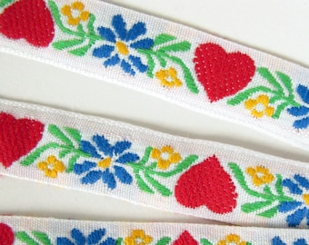 SWEDISH HEARTS Jacquard trim. Red, blue, yellow, green, on white.  Sold by the yard. 3/4 inch wide. 2075-D Baltic folklore