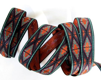 DASHIKI Jacquard trim in Coppery Orange, Brown, Green, Black. Sold by the yard. 7/8 inch wide. 2090-A African trim