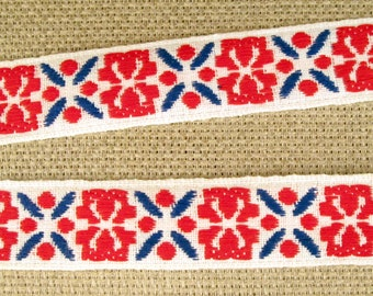 ICELANDIC, medium Jacquard trim in red, blue on white. Sold by the yard.  7/8 inch wide. 2082(B)-A scandinavian design