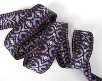BABUSHKA REVERSIBLE Jacquard trim in purple, white, lime on black. Sold by the yard. 1 3/8 inch wide. 479-C. Guitar strap, tribal trim