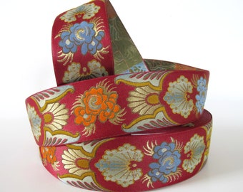 SAMURAI Jacquard trim in orange, blue, gold on deep red.  Sold by the yard. 2 inch wide. 2092-A. Japanese trim, Kimono