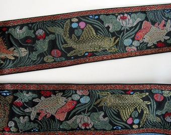 SACRED POND Jacquard trim in red, green, gold, grey on black.  Sold by the yard. 2 1/8 inch wide. 2093-A. Japanese trim, Coy fish