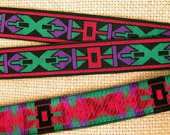ARIKARA medium Jacquard trim in green, purple, wine red and black. Sold by the yard. 7/8 inch wide. 2078-A Ethnic trim, African trim