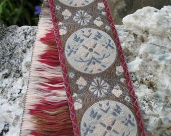MARIE ANTOINETTE Jacquard trim in blue, ivory, taupe, with wine red edges. Sold by the yard. 1 1/2 inch wide. 319-B. French Provincial