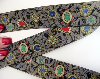 JEWELS Wide Jacquard trim. Red, emerald green, sapphire blue, slate grey, white, gold, on black. Sold by the yard. 1 1/8 inch wide. 870-A