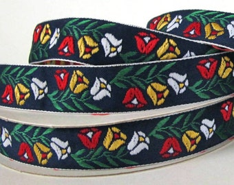 Bavarian TULIPS medium Jacquard trim. Red, yellow, white, green, on navy blue. White edges. Sold by the yard. 3/4 inch wide. 2018-A