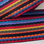 WARRIOR STRIPES, Reversible Jacquard trim in red, turquoise, yellow, purple, brown, blue, black. Sold by the yard.  2 1/8 inch wide. 2033-A
