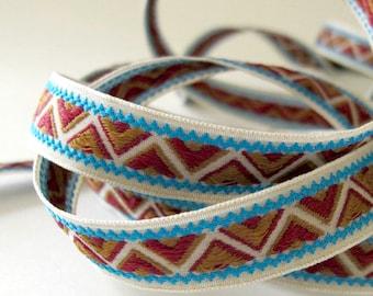 5 Mètres Bleu Vert Or Couronne or tissé jacquard Braid Ribbon Trim 20 mm