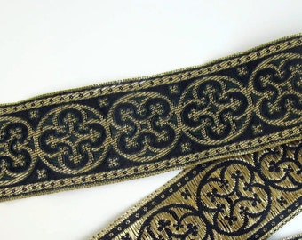 BYZANTINE Jacquard trim in metallic antique gold on very dark green. Sold by the yard. 1 5/8 inch wide. 958-H. Brocade
