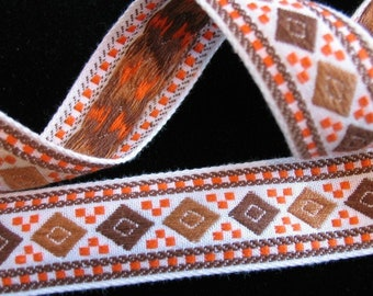 "DIAMONDS Jacquard trim in Milk chocolate tan, brown, orange, on white. Sold by the yard. 1 "" wide. V64-B. Geometric trim"
