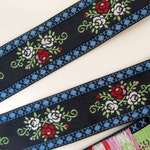 FLORAL CLUSTERS 3 yards wide Jacquard trim. Red white pink green, blue on navy.  1 3/16 inch wide. 2007-A Bavarian dress trim
