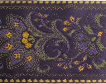 FLORAL SARI BORDER Jacquard trim in olive green, mustard,  gold, on deep purple. Sold by the yard. 2 1/4 inch wide. 976-b. Wide ribbon