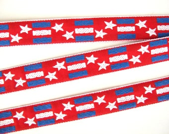 STARS and STRIPES Jacquard trim, White, blue on red with white edges. Sold by the yard. 7/8 inch wide. 2079(1)-A,