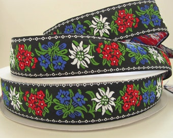 "2 yards 21"" EDELWEISS wide Jacquard trim White, red, blue, green, on black.  1 5/8 inch wide. 2009-A Bavarian dress trim"