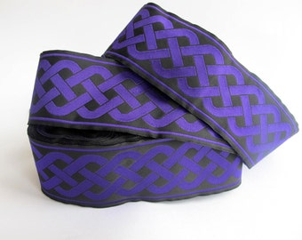 CELTIC RUNNING KNOT wide Jacquard trim in purple on black. Sold by the yard. 2 inch wide. 501-g Celtic, Viking trim