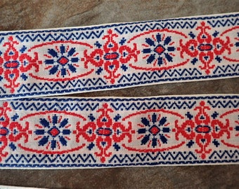 SCANDI SCARLET Jacquard trim. Red and Blue on white. Sold by the yard. 2 inch wide. 2098-A. Traditional Baltic folklore trim
