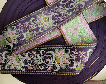 FLORAL SARI BORDER Jacquard trim in green, mauve,  mustard,  gold, on deep purple. Sold by the yard.  2 1/4 inch wide. 976-F.  brocade trim