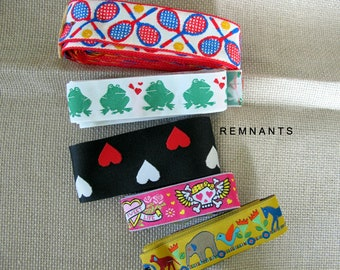 REMNANT MIX no 26 Novelty Jacquard trims. Pink Tattoo, Hearts, Tennis, Froggy, Animal Train. Lengths in description. REM#26