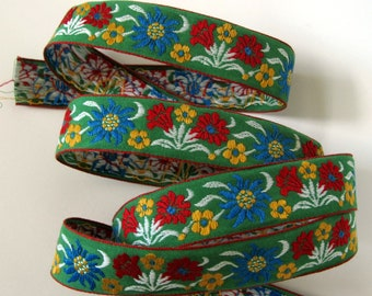 EDELWEISS and TULIPS 3 yards Jacquard trim in blue, red, yellow, white on green. Red edges. V2767-A Bavarian dress trim Floral ribbon