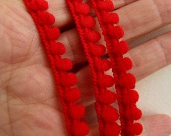 5 yards (4.5 meters) Baby Pom Pom Ball Fringe passementerie braid. RED. 6/16 inch (7mm). 850-250
