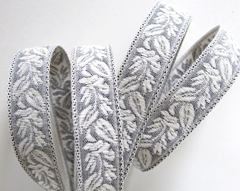 Reversible CAMEO LEAVES Jacquard trim in natural ivory and grey. Sold by the yard. 7/8 inch wide. 280-D