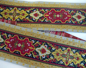 """DANTE Composite super wide Jacquard trim in Gold, Olive green, red, ivory, oxblood, grey on black. Sold by the yard. 2 3/4"""" wide. #972-A"""