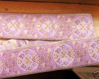 MARIE ANTOINETTE Jacquard trim in cream, on rose, with cream edges. Sold by the yard. 1 1/2 inch wide. 319-G-2. French Provincial