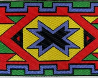 SEMINOLE 2 yards Jacquard trim in yellow, red, green, black, mauve. 1 1/2 inch wide. 2014-A Tribal design