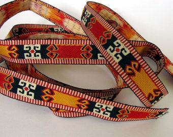 ZUNI 2 yards Jacquard trim in red, sun yellow, beige on black. 3/4 inch wide. 204-B Native American SouthWest trim