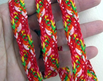 BRAIDED CORD passementerie gimp trim in red, pink, orange, yellow, green, white. Sold by the yard. 1/2 inch wide. 6005-B