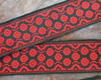 POLSKA PATTERN Jacquard trim. Red on dark spruce Green. Sold by the yard. 2 inch wide. 2097-B. Cotton Traditional Baltic trim