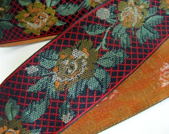 LAKME, Jacquard trim. Red, green, tan, gold, ivory on black. 2 inch wide. 963-A Wide floral trim