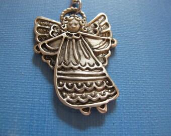 PROTECTION ANGEL Pewter ORNAMENT,  signed C. Webb. Vintage Purse charm. Key chain, Pendant, Handbag Accessory, Charm, Swag, CW112