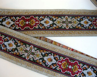 """DANTE Composite Jacquard trim in Silver, Olive green, Wine red, ivory, mustard, grey on black. Sold by the yard. 2 3/4"""" wide. 972-C"""