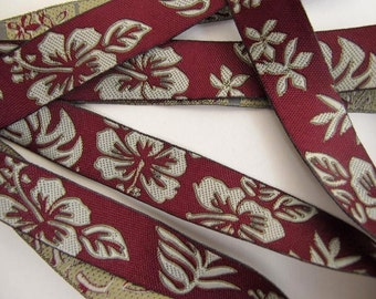 CAMEO LEAVES 3 yards Jacquard trim in greyish taupe on burgundy. 5/8 inch wide.  890-A Floral trim