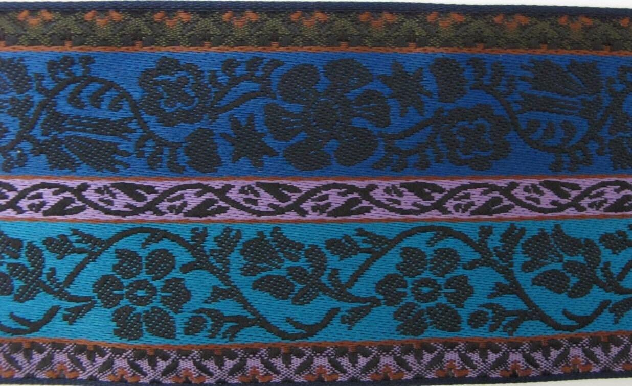 lot de 10 yards Jacquard large bandes GARLAND garniture pouces en noir et  lavande, turquoise 3972d5ed3ef