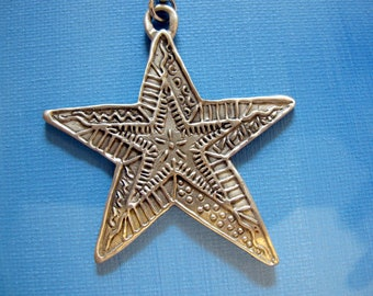 STARBURST Pewter ORNAMENT, signed C. Webb. Vintage Purse charm. Key chain, Pendant, Handbag Accessory, Charm, Swag, CW115