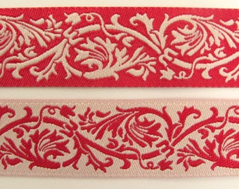 REVERSIBLE CLASSIC SCROLLS 2 yards Jacquard trim in ivory and red. 7/8 inch wide. 984-e
