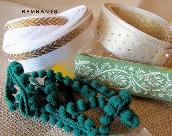 REMNANT MIX no 45-2 White Green Long Jacquard trims. Classic Scroll,Herringbone edge, Dots, Pom Pom Braids. Lengths in description. REM#45-2