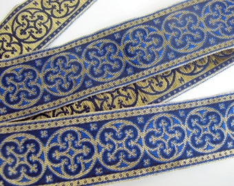 BYZANTINE, 2 yards Jacquard trim in metallic antique gold on Royal blue. 1 5/8 inch wide. 958-J Brocade trim