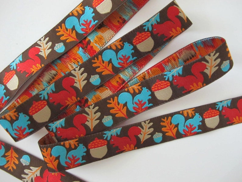 WOODLAND SQUIRRELS Jacquard trim. Red turquoise orange image 0