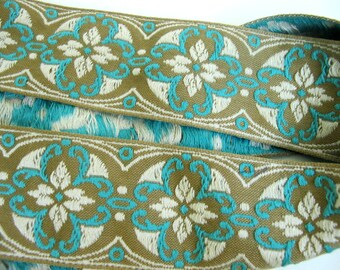 MORESQUE Jacquard strap. Turquoise, ivory on drab olive green. Sold by the yard. 2 inch wide. 961-B