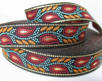 WHEAT Jacquard trim in red, rust, turquoise, gold on black. Sold by the yard. 3/4 inch wide. 492-B. South western trim